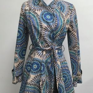 Peppe Peluso blue beige belted embroidered coat M